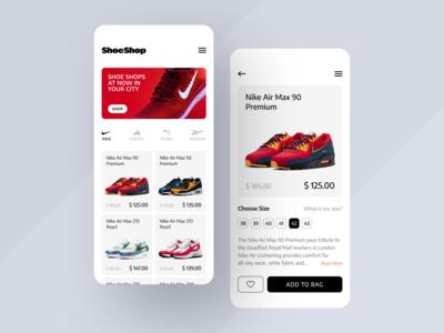 ShoeShop App ecommerce design ecommerce shop ecommerce app clean ux ui mobile ios flat figma design application app