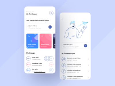 Chat Manager App chat app chat clean ux ui mobile ios flat figma design application app