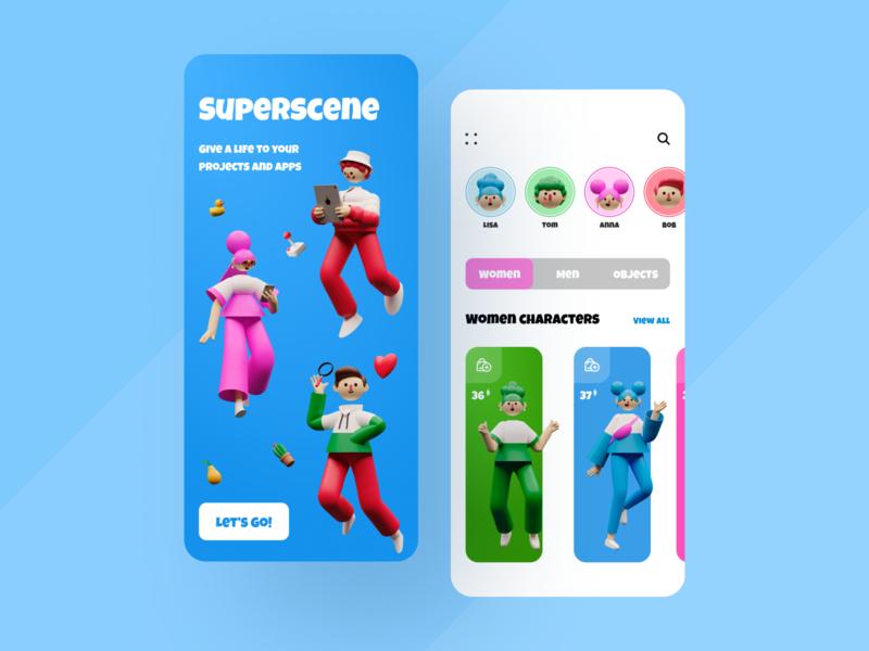 Shop Illustration App superscene shop app 3d ecommerce app app design clean ux ui mobile ios flat figma design application app