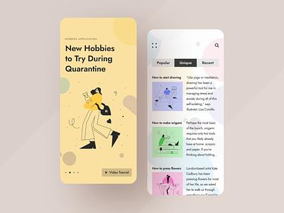 Hobbies App grid unique hobbies sketch art clean ux ui mobile ios flat figma design application app