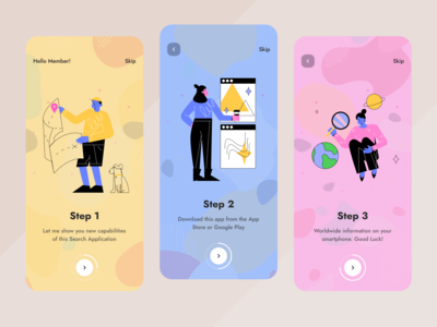 Onboarding Screens onboarding ui onboarding illustration branding clean ux ui mobile ios flat figma design application app
