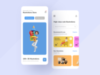 Illustrations Store App shop app 2d 3d illustration store app store clean ux ui mobile ios flat figma design application app