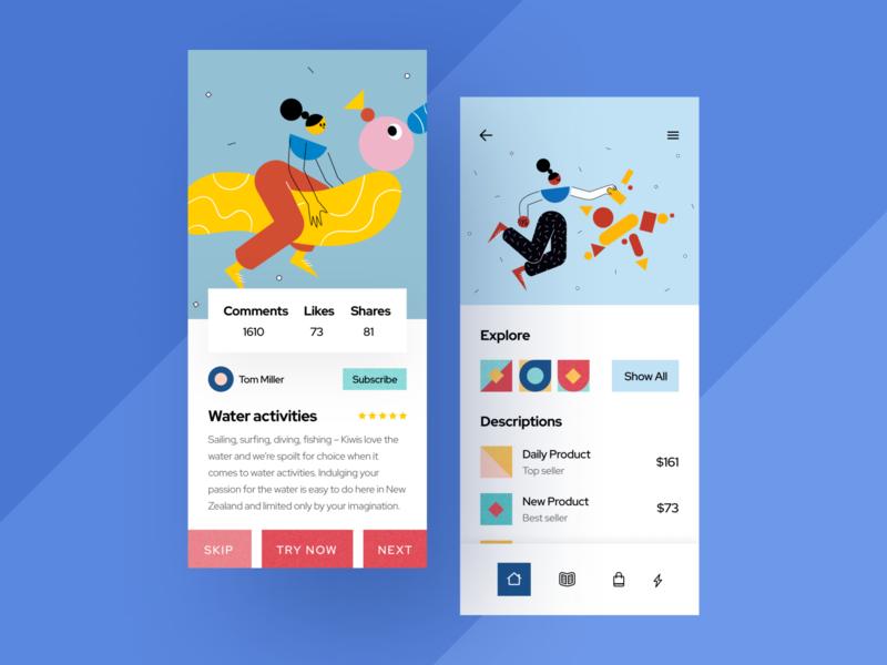 Social App Concept creative app design clean uxdesign uidesign web icon ux ui illustration sketch mobile ios flat figma design art application app