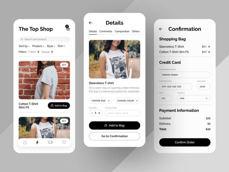Online Shopping App ux ui sketch mobile ios flat figma design application app
