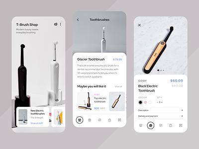 Toothbrush Online Shop uiux design clean ui clean toothbrush shop shopping app art ux ui sketch mobile ios flat figma design application app
