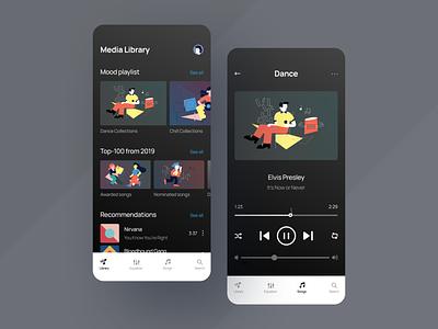 Music Player app art music app music typogaphy player ui player app player ux clean ui mobile ios flat figma design application app