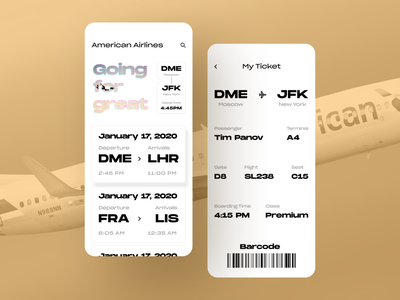 Flight Booking App ticket app ticket design flight booking app flight app typography clean ux ui mobile ios flat figma design application app