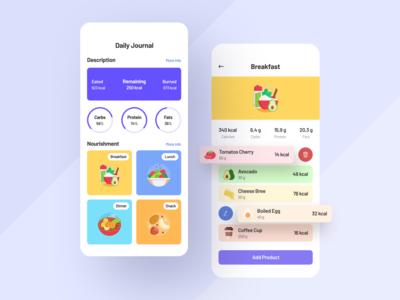 Daily Journal App statistics food app health app health journal fitness app art clean ux ui mobile ios flat figma design application app