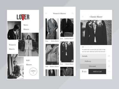 Monochrome Shop App fashion app blazer new shopping app shop monochrome clean ux ui mobile ios flat figma design application app
