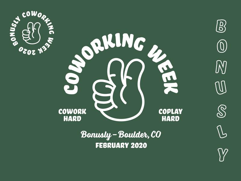Bonusly Coworking Week Branding apparel branding design two thumbs up bonusly just for fun apparel design branding