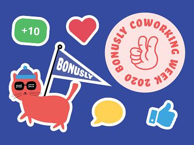 Bonusly Sticker Sheet iconset bonusly cat illustration icons