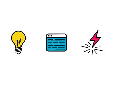 Lightbulb, Terminal, and Bolt Icons lightning bolt lightning code terminal light lightbulbs lightbulb icons vector illustration