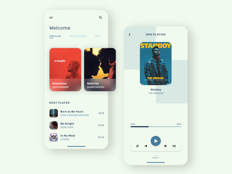 Music App ui ux design user interface adobexd minimalist trends 2020 user experience aadiguru music player music app