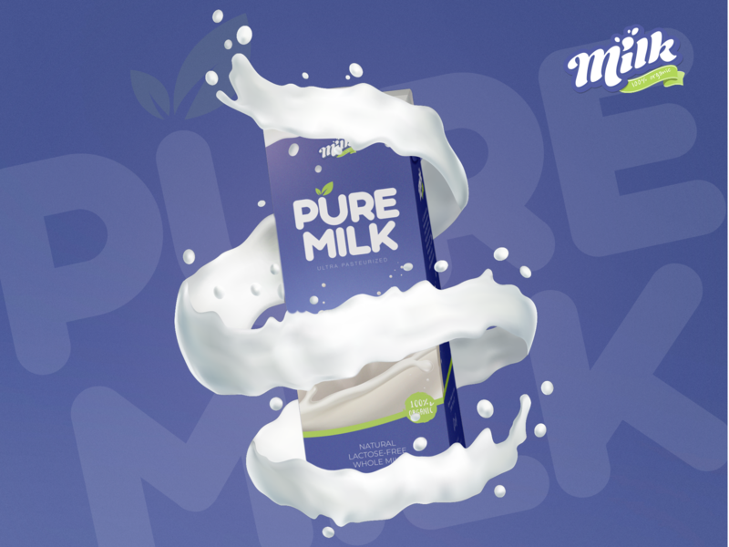 Pure Cow Milk Package Design cow violet pure sketchapp mockup milk packaging package design package