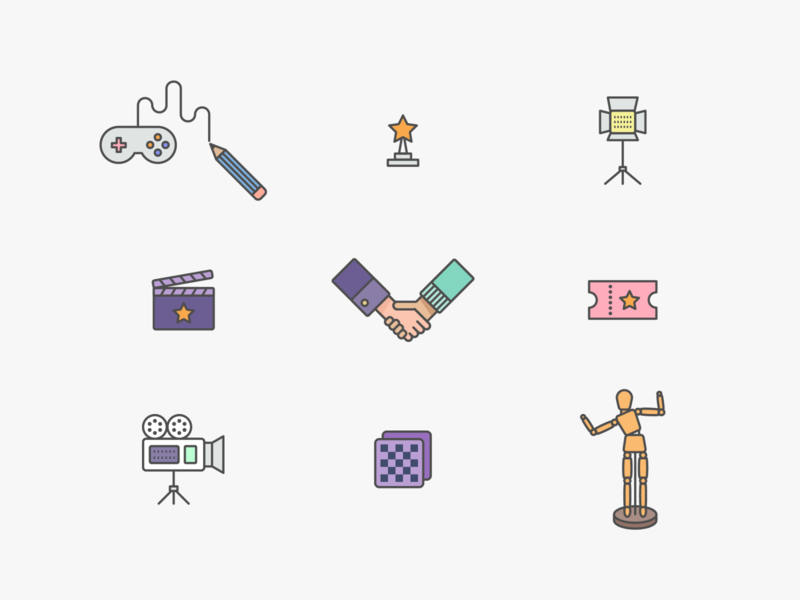 some icons production film cinema icon movie line illustration