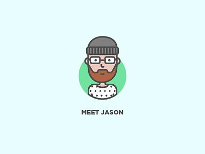 Meet Jason profile user vector line icon illustration avatar character