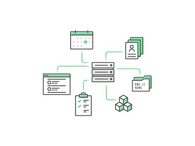production management server tool management production illustration icons