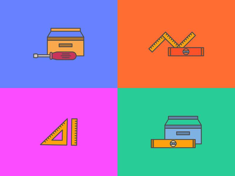 some illustrations colorful outline icon outlines icons screwdriver toolbox carpenterie tools vector design illustration