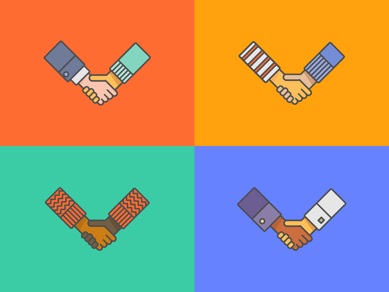 some handshakes friendship open solidarity together united states nations welcome inclusion icon collaboration united hands outlined colorful color line vector illustration diversity handshake