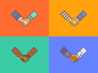some handshakes friendship open solidarity together nations welcome inclusion icon collaboration united hands outlined colorful color line vector illustration diversity handshake