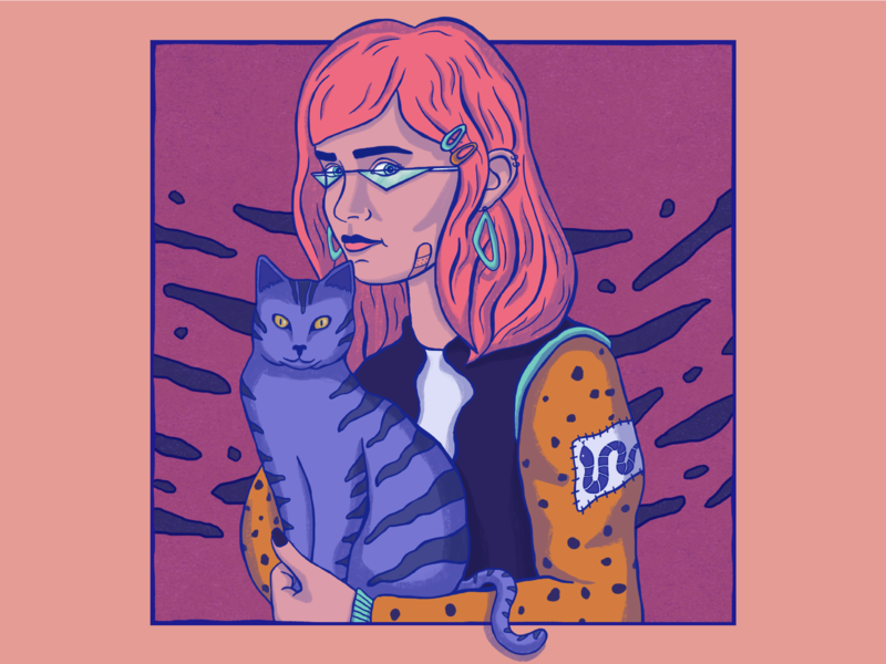 Portrait of a cat and its human