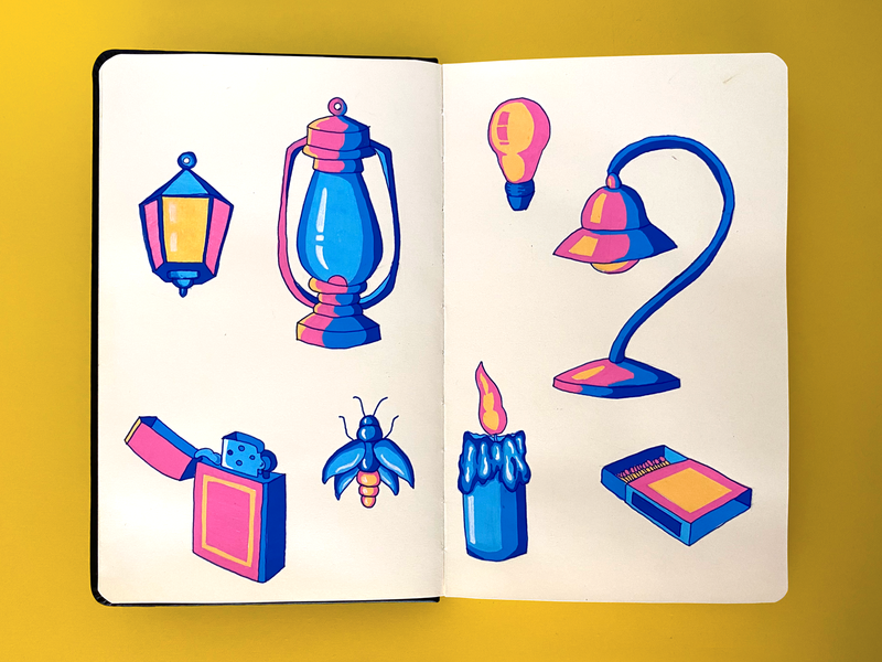 Lighting set drawing notebook duotone lamp objects illustration handdrawing yellow blue pink firefly lamppost lantern lighter marker sketchbook lightbulb candle light