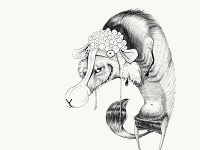 A Wolf in Sheep's Clothing procreate linework black and white illustration