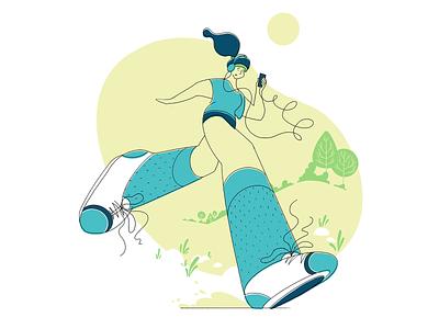 Jog On vector minimal flat colour linework procreate illustration