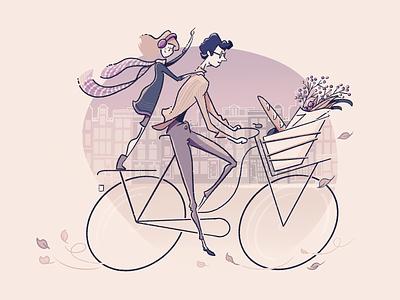 On yer bike family amsterdam bicycle vector flat colour linework procreate illustration