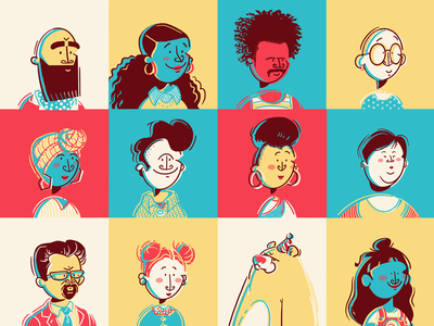 Odd one out avatar people diversity vector flat colour linework procreate illustration