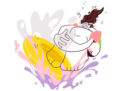Summer Splash! summer vector flat colour linework procreate illustration