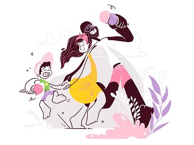 Summer Sundaes diversity icecream family summer vector flat colour linework procreate illustration