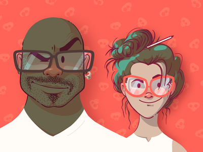 Teamwork vector teamwork relationship couple green red flat colour character design avatar illustration