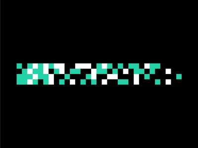 Digital simple gradient teal grid pixel pattern digital