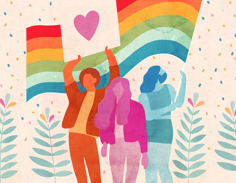 Pride Month - Victoria Borges pride month bright confetti floral heart logo lgbtqai rainbow characters artistique international illustration