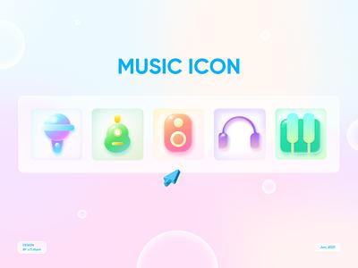 MUSIC ICON pastel challenge glassmorphism mobile app vector final exam music graphic illustration icon ui