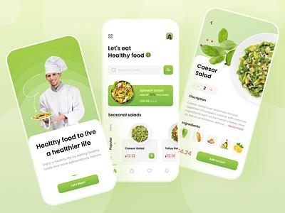 Healthy Food App 🥗 salad vector graphic design friday shots vegetables food healthy app mobile ui
