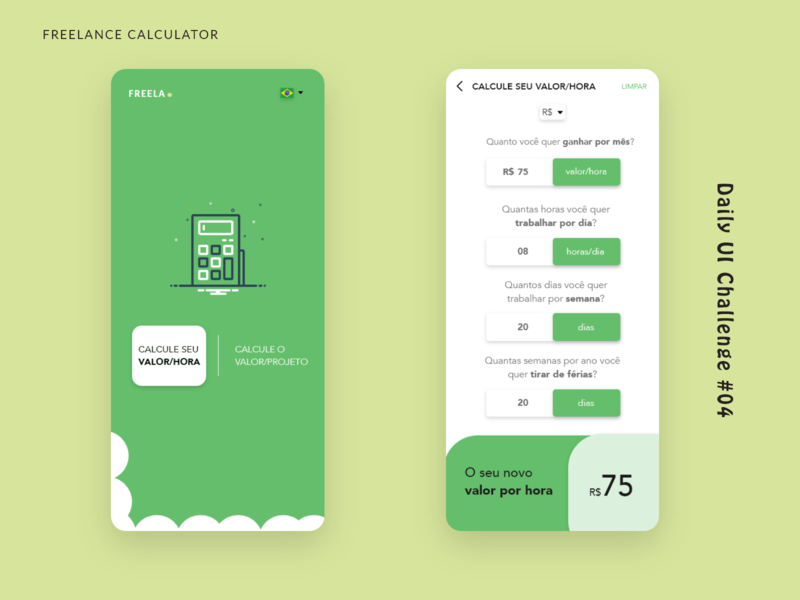 Daily UI Challenge #04 Freelance Calculator - Green Concept