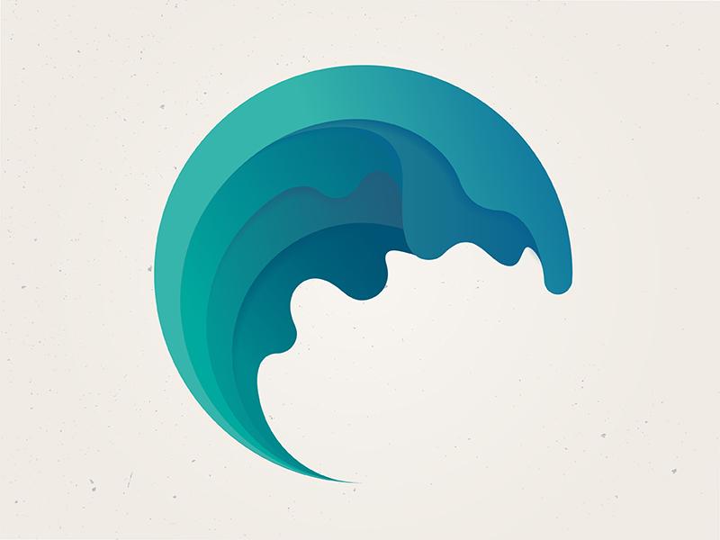 Wave identity logo mark symbol wave branding
