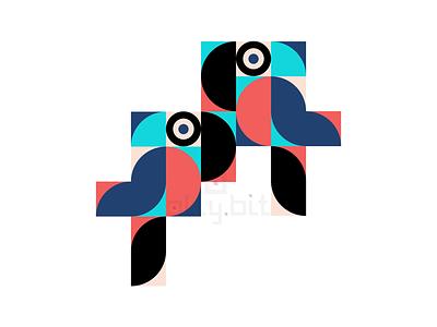 Parrots color shapes parrots design vector graphic art animal
