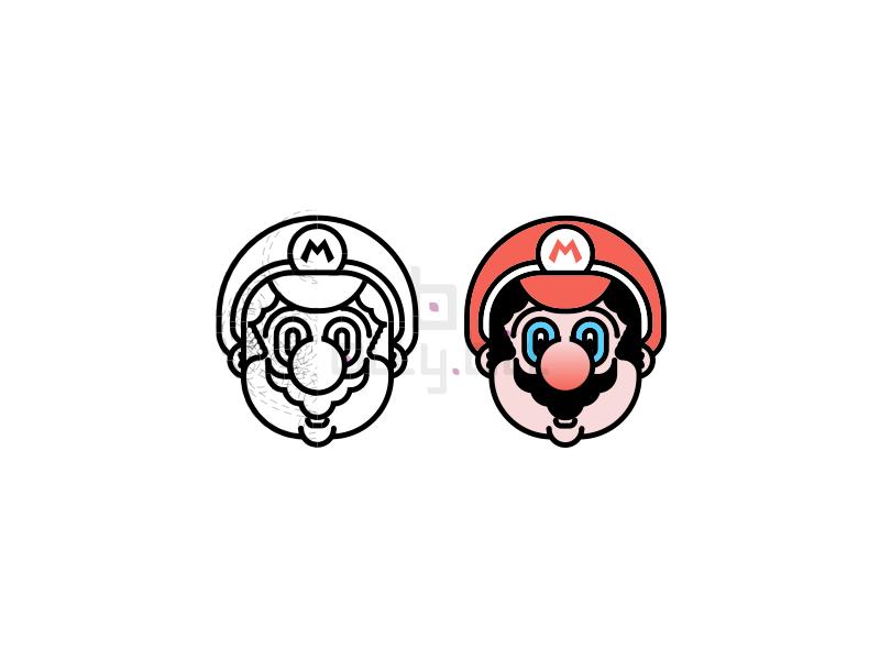 Super Mario Bros black artwork graphic design minimal illustration colors grid nintendo supermario game