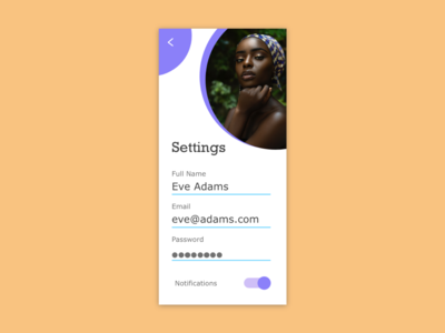 DailyUI  Day 7 - Settings