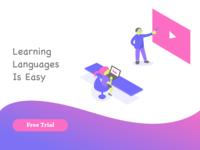 Language learning app splash page