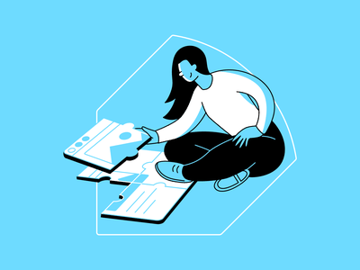 Writing Awesome Website Content seo creation sitting girl writing puzzle tips website web content seo agency seo company flat marketing article design digital vector 2d art illustration