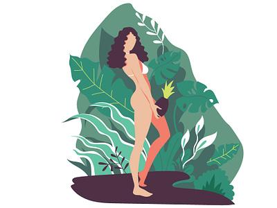 Plant lover vector girl plants digital illustration