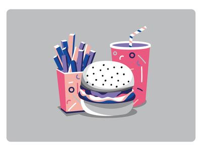 American Dream vector illustration hamburger fast food russia usa