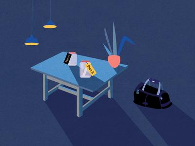 Chicago. Batman's City. plant bag table chicago batman article design vector illustration usa flat digital 2d art