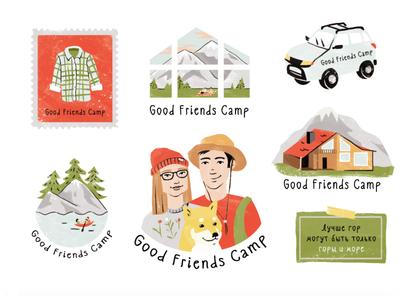 Stickers for Good Friends Camp identity window stamp shirt camp house sea shibainu car stickerpack mountains design sticker design stickers friends 2d art illustration