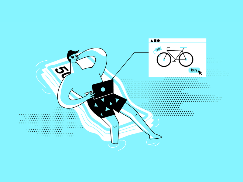 SEMrush for Ecommerce and Affiliates web affiliate bicycle buying pool money water article design flat 2d art vector illustration seo marketing semrush ecommerce header blog