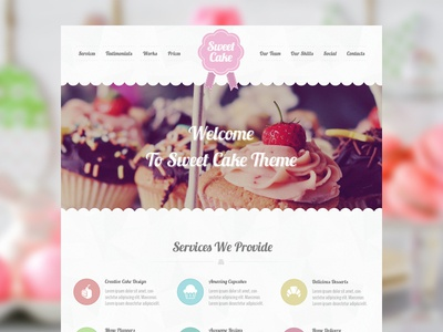 Sweet Cake bakeries cake creative cupcake food responsive themeforest theme